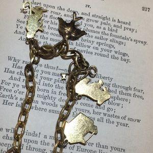 Vintage Jewelry - Vintage 1940s enamel charm bracelet
